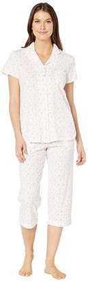 Eileen West Cotton Jersey Knit Short Sleeve Notch Collar Capris Pajama Set (White Ground/Multi Floral) Women's Pajama Sets