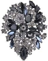 Ever Faith Black-Tone Austrian Crystal Vintage Style Flower Cluster Brooch Pendant Black A02252-67