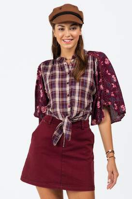francesca's Camilla Floral Plaid Mix Blouse - Burgundy