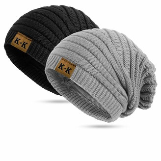 Kordear Knitted Hat Women - Beannie Hat Winter Knitting Beanie Slough Style Hat Knit Pattern Warm Thermal Cap for Ladies Fashion Cosy Stripes