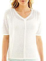 Liz Claiborne Short-Sleeve Chain Sweater