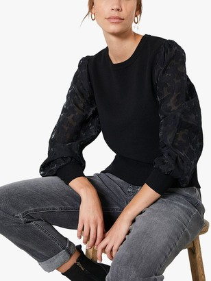 Mint Velvet Puff Sleeve Floral Jumper, Black