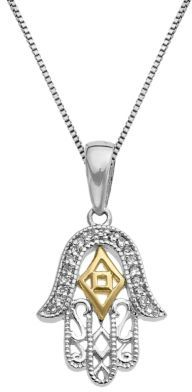 Lord & Taylor Sterling Silver and 14Kt Yellow Gold Pendant Necklace with Diamonds