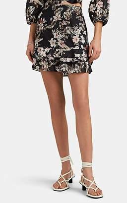 FiveSeventyFive Women's Tropical-Floral Ramie-Cotton Voile Miniskirt