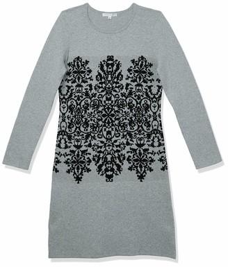 Sandra Darren Women's Longsleeve Printed Placement Sweater Dress Grey/Black Small