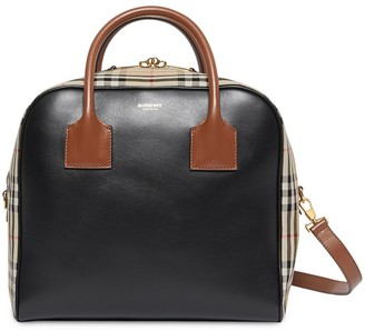 Burberry Medium Leather and Vintage Check Cube Tote