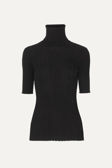 Bottega Veneta Ribbed Merino Wool-blend Turtleneck Sweater - Black