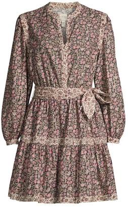 Rebecca Taylor Floral Long-Sleeve Mini Dress