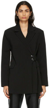 Ganni Black Melange Suiting Wrap Blazer