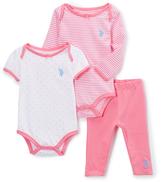 U.S. Polo Assn. Aurora Pink Stripes & Dots Bodysuit Set - Infant