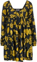 Versace Baroque Print Flared Dress