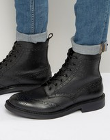 Zign Shoes Leather Brogue Lace Up Boots