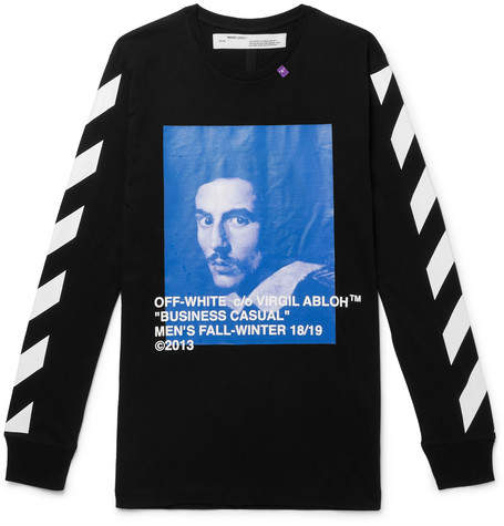 Off-White Off White Printed Cotton-Jersey T-Shirt - Men - Black