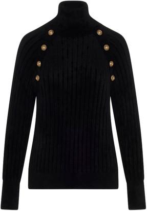 Balmain Buttoned High Neck Sweater