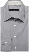 Givenchy Men's Spread Collar Cotton Dress Shirt Pinstriped White Grey.