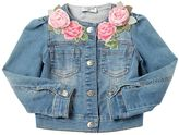 MonnaLisa Cotton Denim Jacket W/ Rose Appliqués