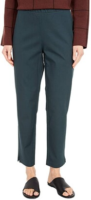 Eileen Fisher Organic Cotton Stretch Twill Mid-Rise Ankle Pants (Forest Night) Women's Casual Pants