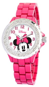 EWatchFactory Disney Minnie Mouse Women's Pink Alloy Enamel Spark Watch