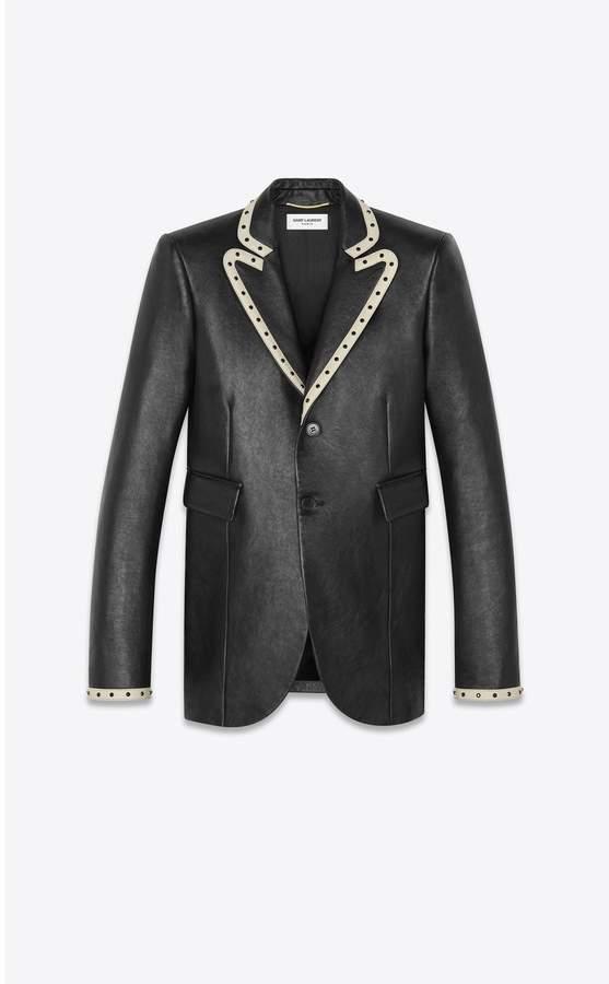Saint Laurent Leather Suit Jacket Decorated With Rivets