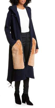 Anne Vest Wool Blend Hooded Cardigan with Genuine Shearling Pockets