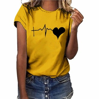 Lazzboy Women T-Shirt/Vest Tops Love Shape Heart Electrocardiogram Print Loose Short Sleeve O-Neck Ladies Blouse(L(12)