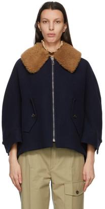 Chloé Navy Virgin Wool Cape-Style Jacket