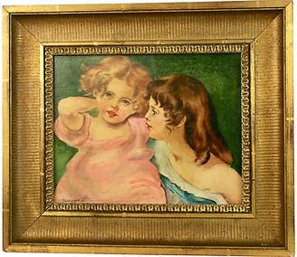 One Kings Lane Vintage Sisters Painting - brunelli designs inc - multi; frame, gold