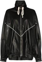 Plan C oversized leather varsity jacket