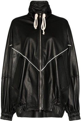 Plan C Oversized Leather Varsity Jacket