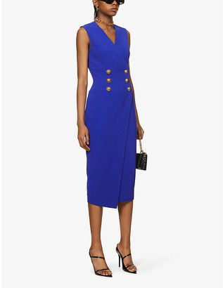 Balmain Button-embellished wrap crepe midi dress