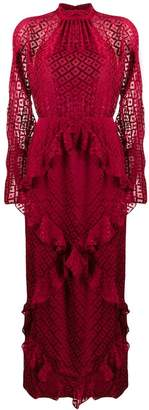 Saloni geometric embroidery frill dress