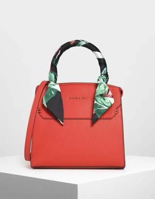 Charles & Keith Scarf Wrapped Top Handle Bag