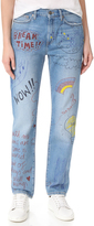 Mira Mikati Hand Painted Doodle Jeans