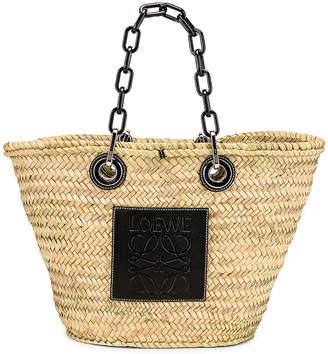 Loewe Basket Chain Bag in Natural & Black   FWRD