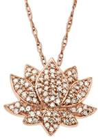 Lord & Taylor 14 Kt. Rose Gold Diamond Lotus Flower Pendant