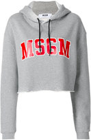 MSGM cropped logo hoodie - women - Cotton/Viscose - S