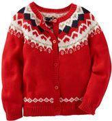 Osh Kosh Toddler Girl Fairisle Wool Cardigan