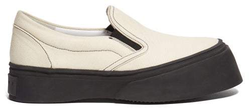 Marni Exaggerated Sole Low Top Canvas Trainers - Womens - Cream