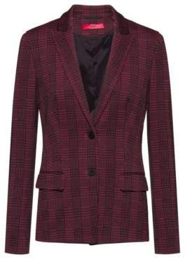 HUGO Regular-fit jacket in checked fabric with slit cuffs