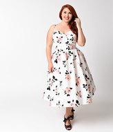 Stop Staring Plus Size White & Pink Rose Swing Dress