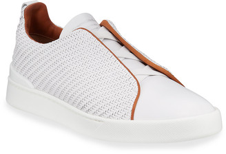 Ermenegildo Zegna Men's Triple-Stitch Pelle Tessuta Leather Sneakers