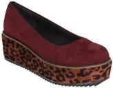 C Label Burgundy Leopard-Trim Nata Platform Flat