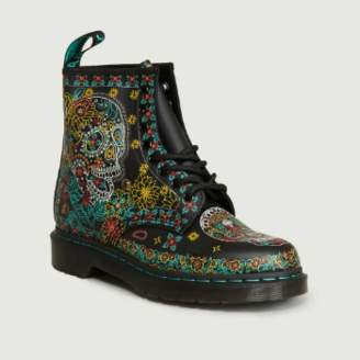Dr. Martens Multicolor Leather 1460 Skull Backhand Ankle Boots - 36   leather   Multicolor
