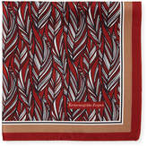 Ermenegildo Zegna Tonal Leaves Silk Pocket Square, Red