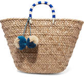 Kayu St Tropez Pompom-embellished Woven Seagrass Tote - Beige