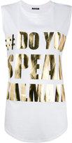 Balmain #DoYouSpeakBalmain tank top - women - Cotton - 36