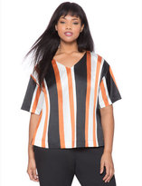 ELOQUII Plus Size Striped V-Neck Top