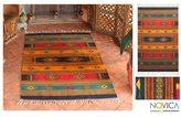 Novica Southwestern Tequila Sunrise Zapotec Geometric Wool Rug (4 x 6) (Mexico)