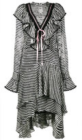 Preen by Thornton Bregazzi Stripy ruffled asymmetrical dress - women - Silk/Viscose - XS