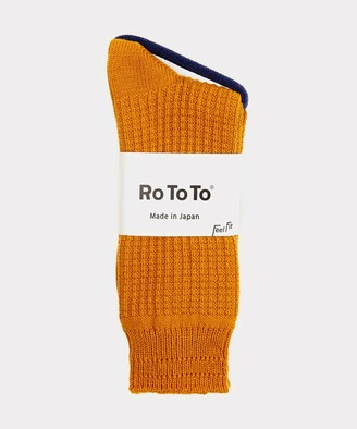Rototo Cotton Waffle Socks in Gold
